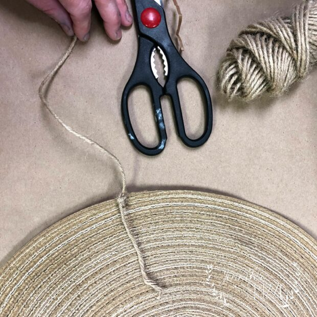 Sneak twine through the edge layers for a DIY place mat