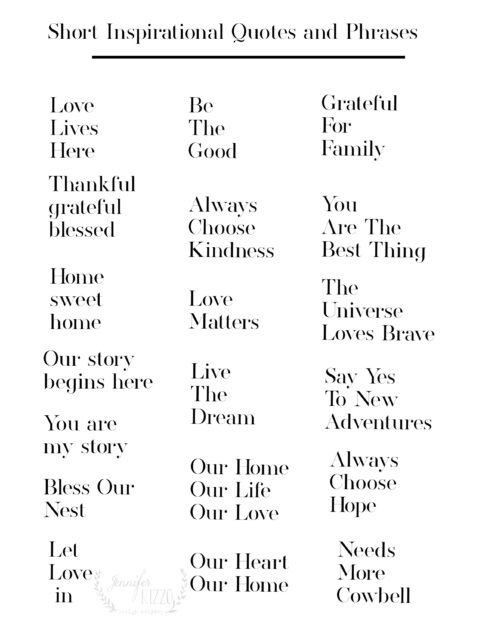 Printable of short inspirational quotes and phrases