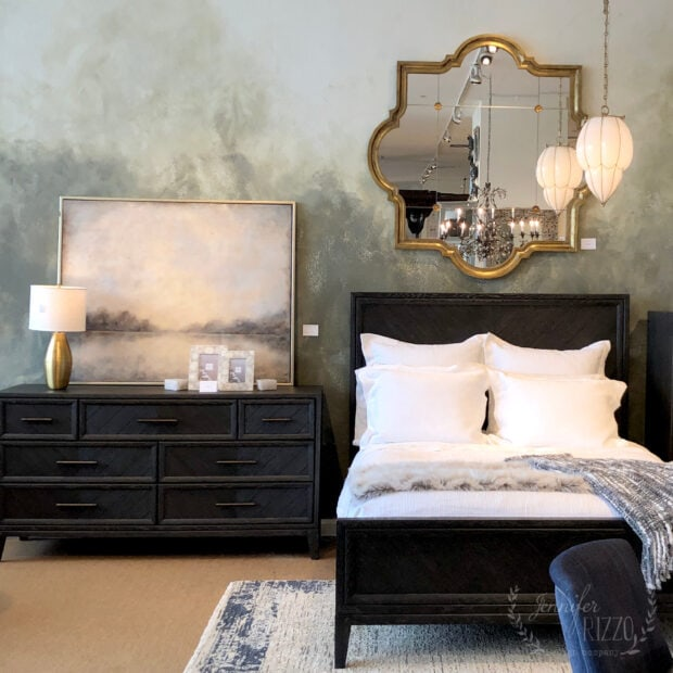 Bedrooom vignette with painted wall treatment