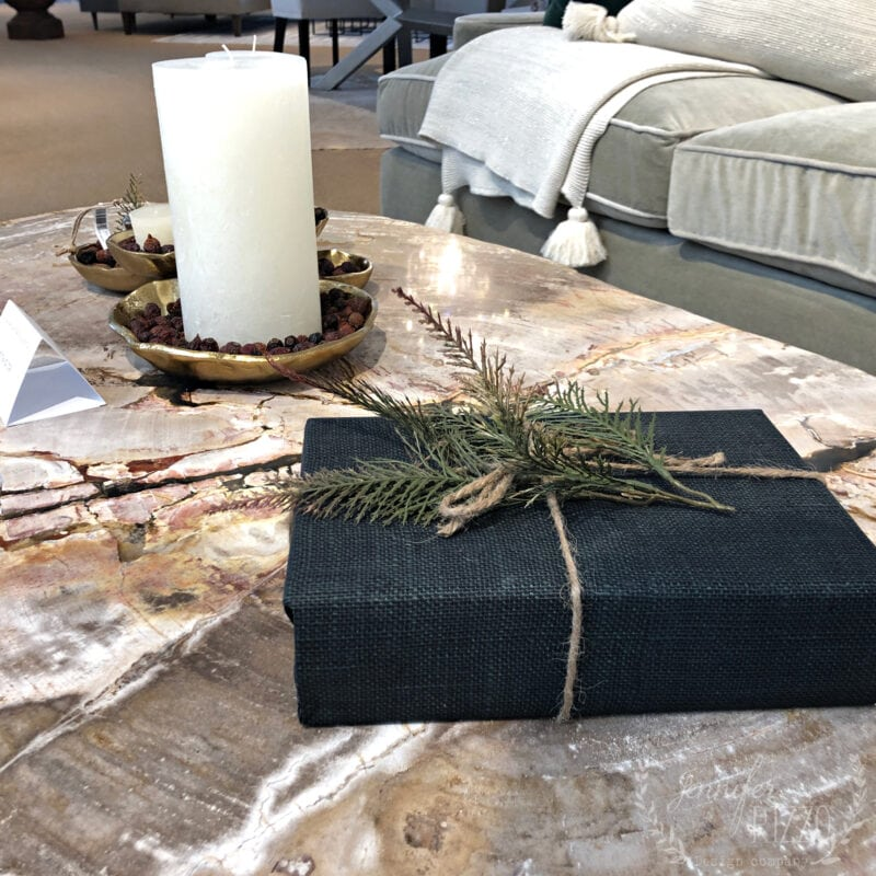 Book and greenery on a table