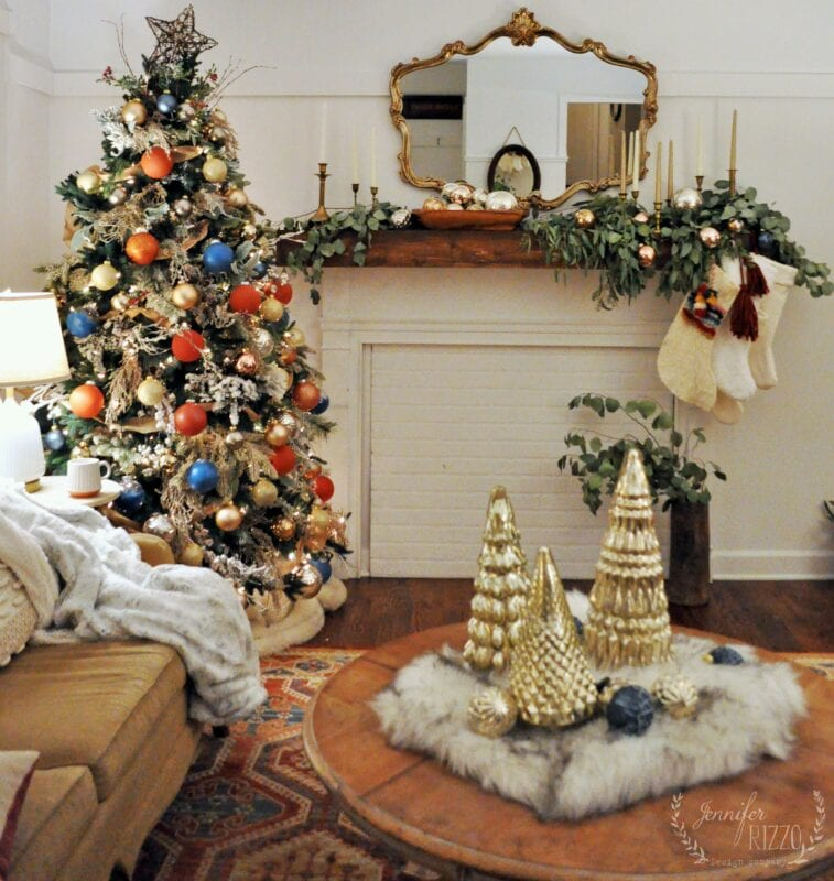 Rustic boho living room Christmas decorating idea