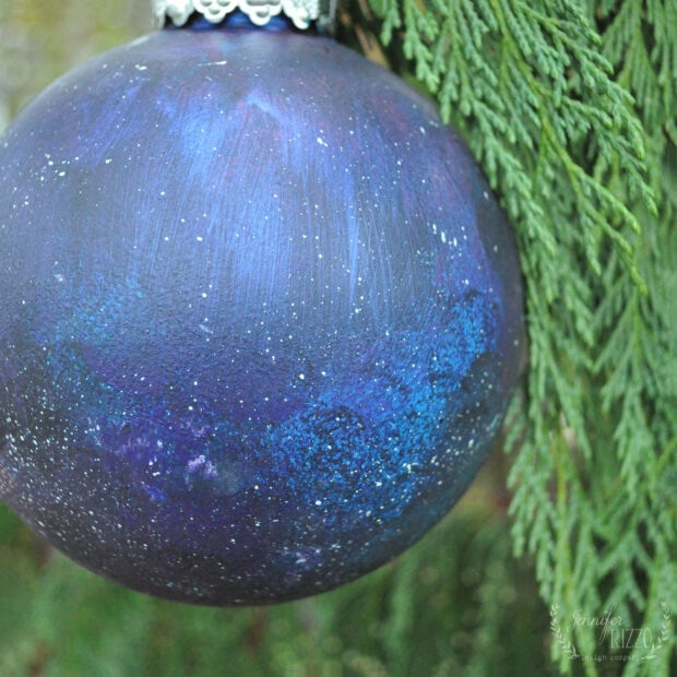 Painted galaxy ornament on a clear globe #paintedornamentidea