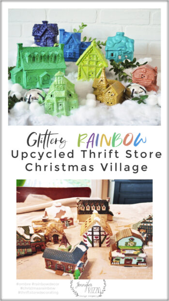 Glittery Ombre Rainbow Upcycled Thrift Store Christmas Decorating idea