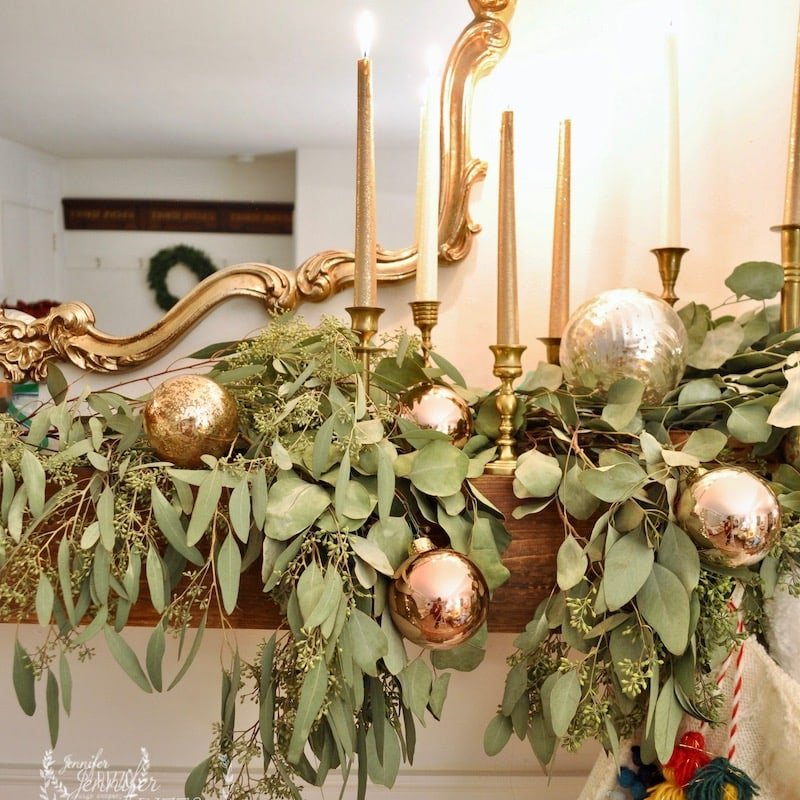 Christmas Living Room with Colorful Ornaments and Eucalyptus