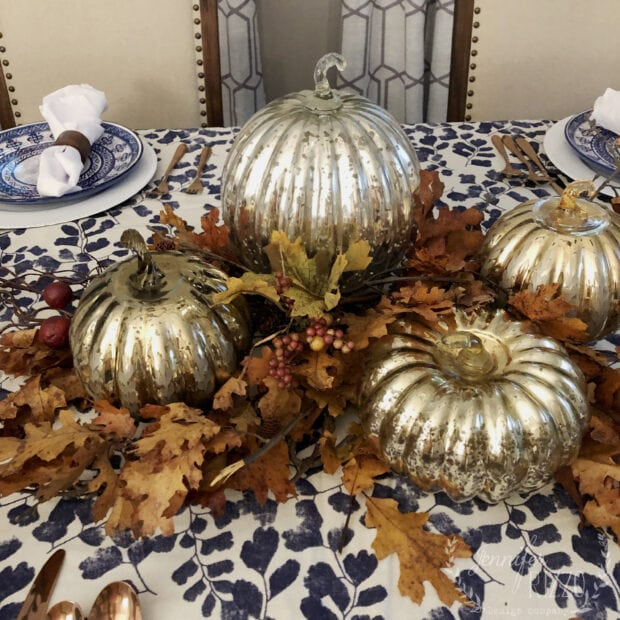 Thanksgiving tablescape idea with mercury glass pumpkins