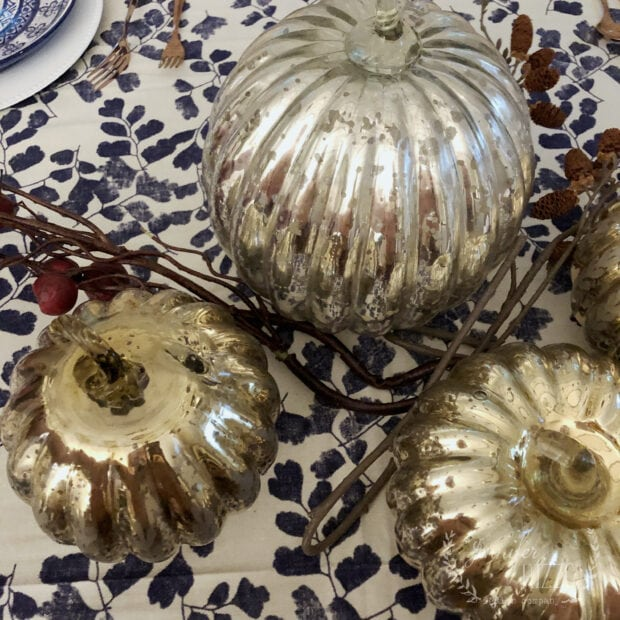 Mercury glass pumpkins for a tablescape display