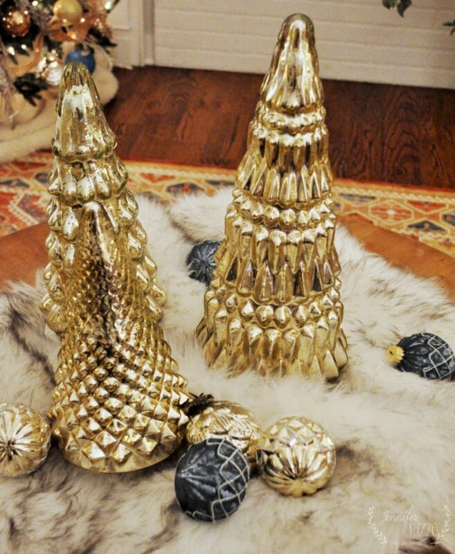 mercury glass Christmas trees and ornaments