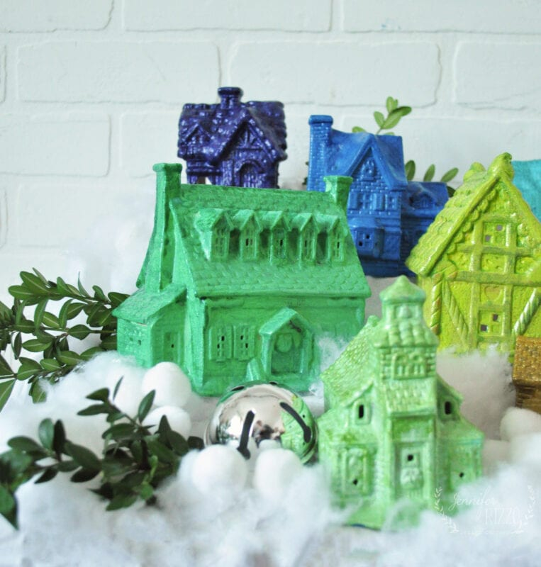 Painted ceramic Christmas houses in Rainbow colors