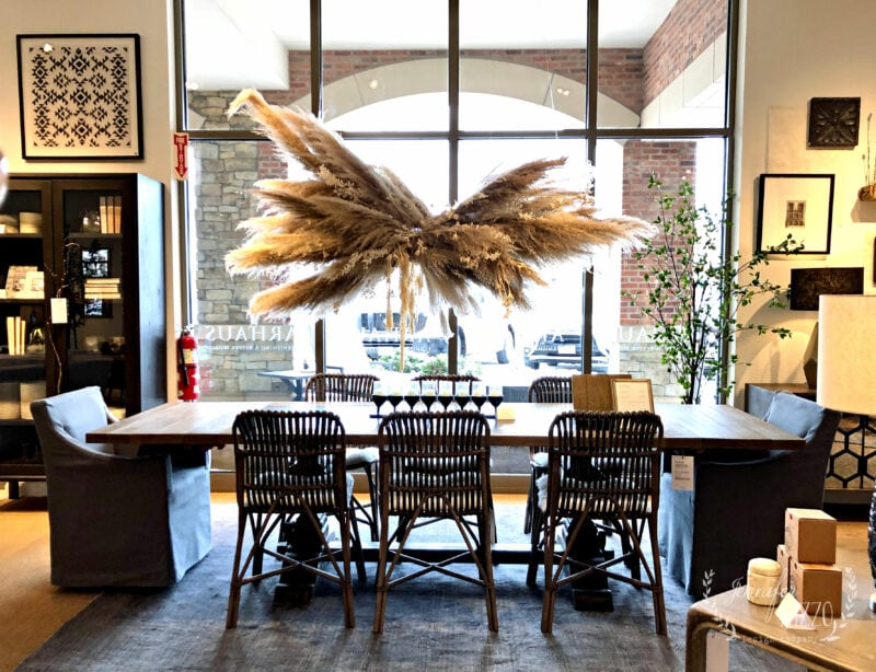 Pampas Grass Chandelier in a dining area