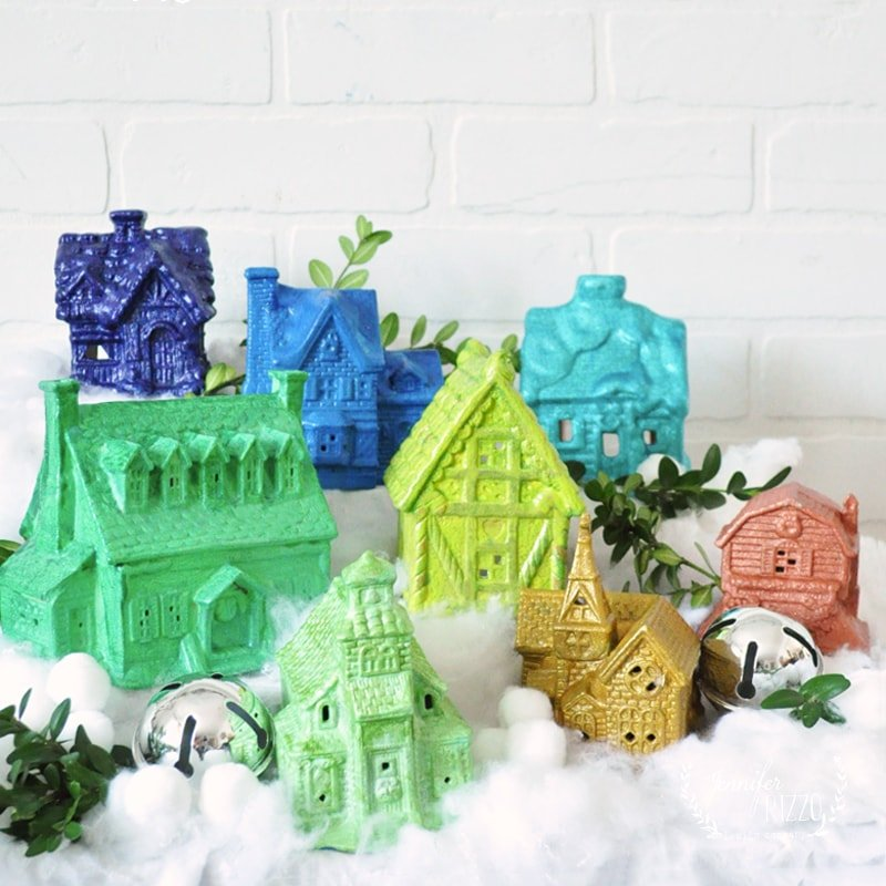 DIY Ombre Rainbow Christmas Village idea with thrift store ceramic houses
