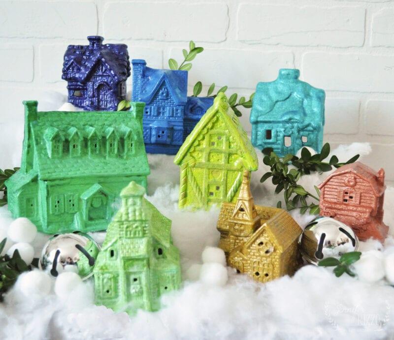 Glittery upcycled Thrift Store Rainbow Christmas Village