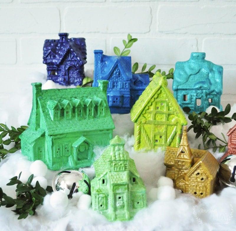 DIY Upcycled Ceramic House Glittery Rainbow Christmas Village
