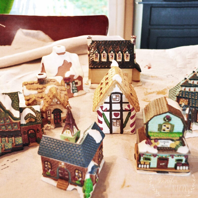 Old ceramic thrift store Christmas houses and village ready to paint