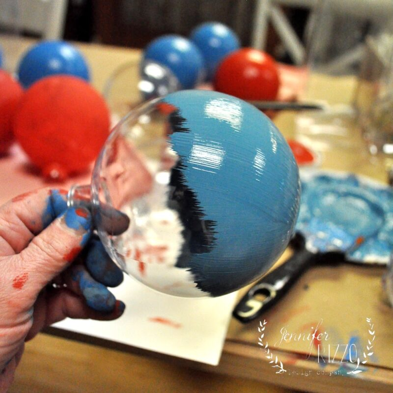 Painting plastic ornaments in chalky finish paint