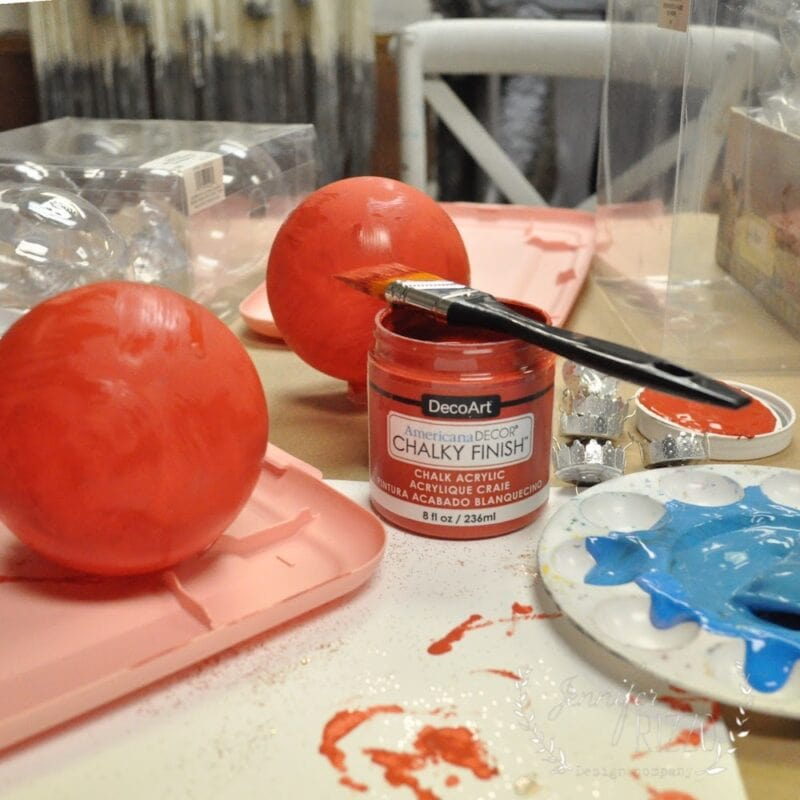 Painting clear glass ornaments with chalky finish paint
