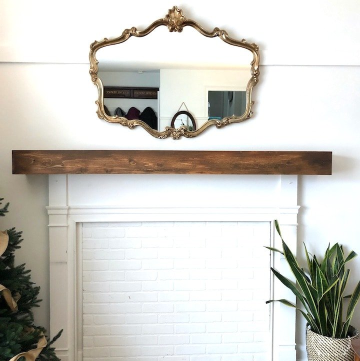 Fireplace overmantel DIY makeover with faux brick
