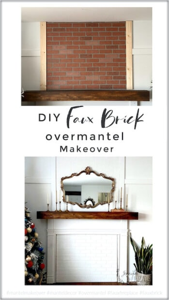 DIY faux brick overmantel makeover