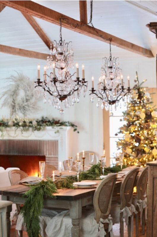 French Country Cottage Christmas dining room Jennifer Rizzo