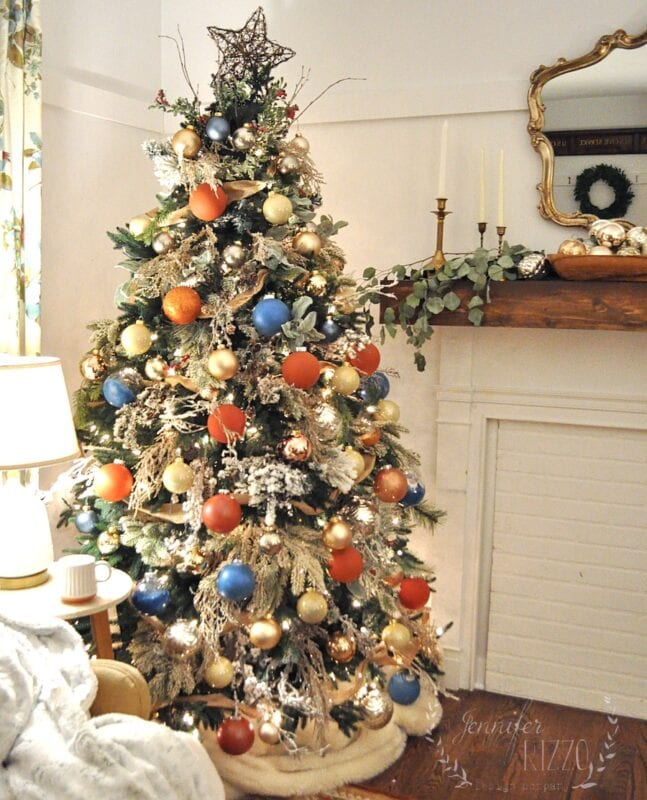Orange and blue modern colorful Christmas tree idea