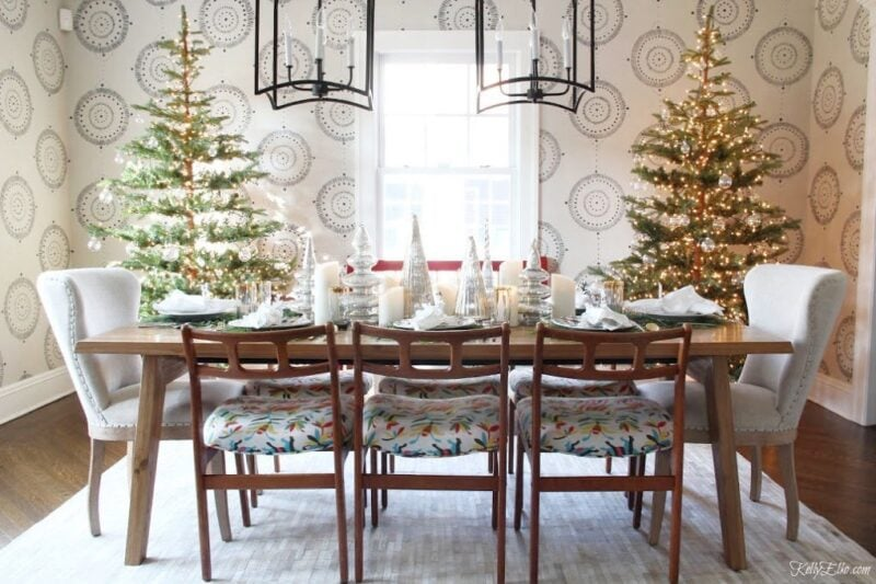 Kelly Elko Dining Room with Two Christmas Trees