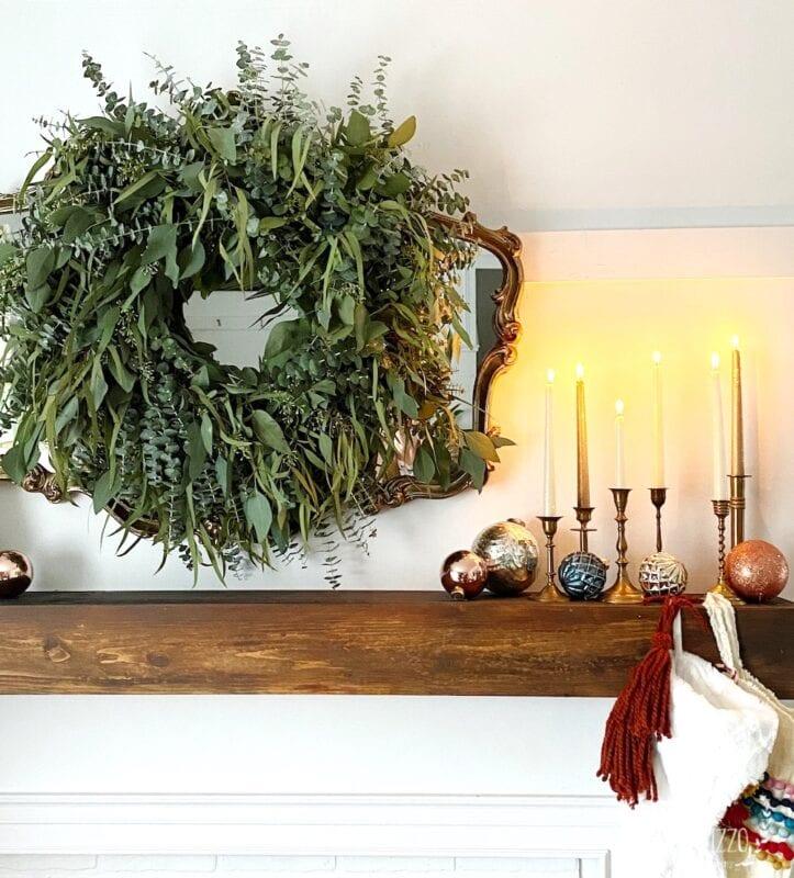 Modern vintage mantel with mixed eucalyptus wreath