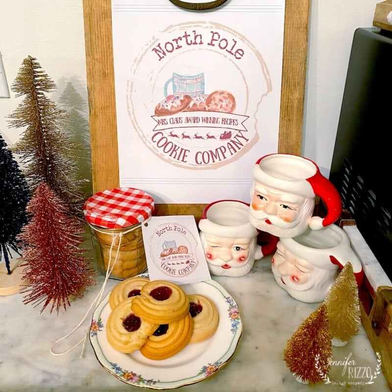 North Pole Cookie Company Free Printable and Santa Mugs