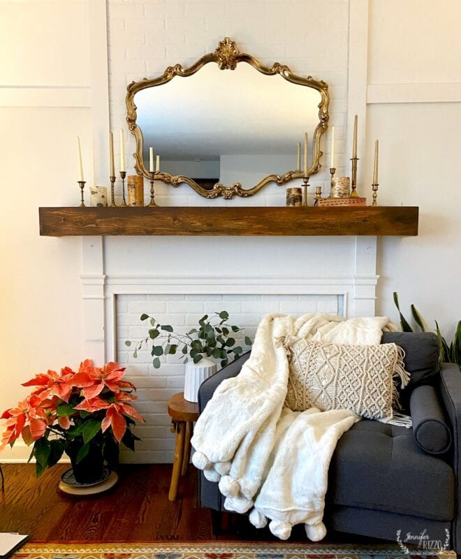 Faux fireplace overmantel and faux brick makeover