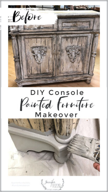 DIY painted console furniture makeover with grey paint