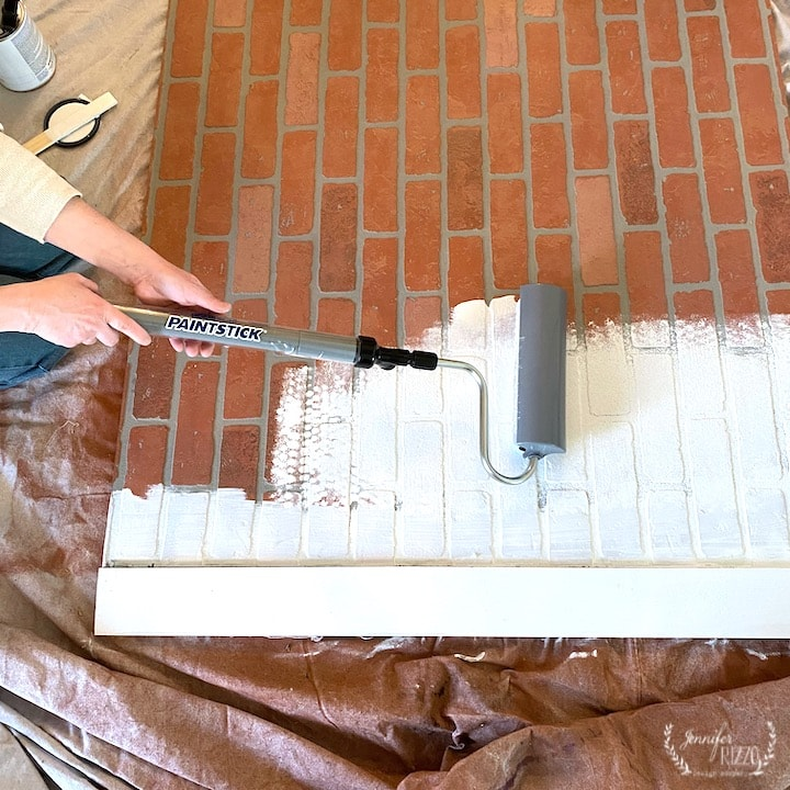 Painting the faux brick paneling