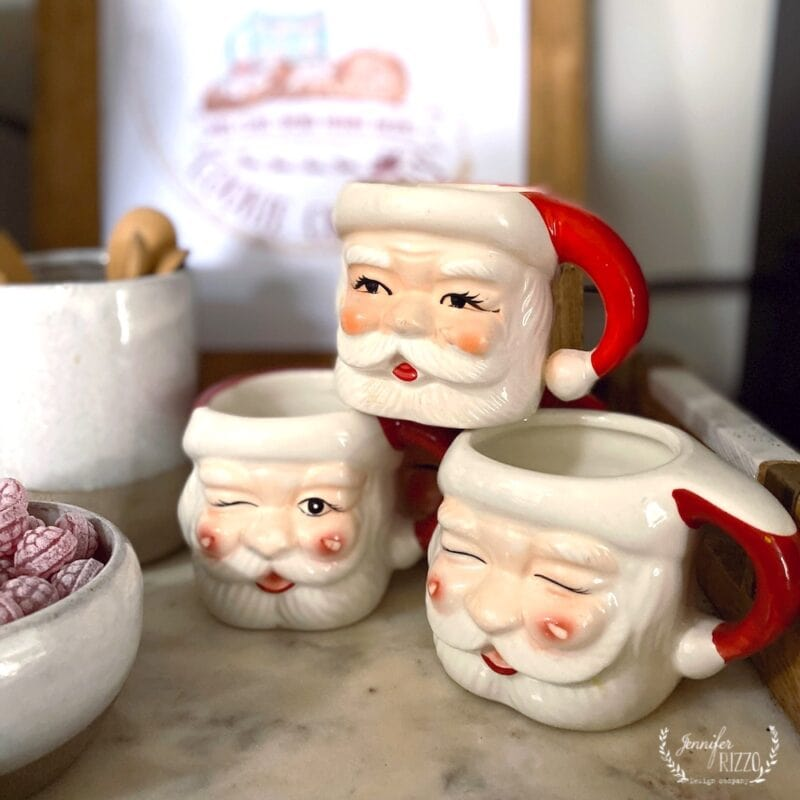 VIntage santa mug stack