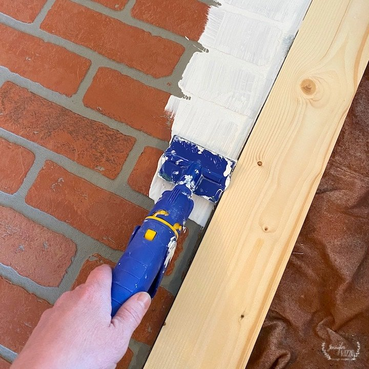 Painting edges of faux brick