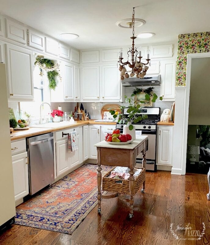White kitchen with Christmas decor Jennifer Rizzo