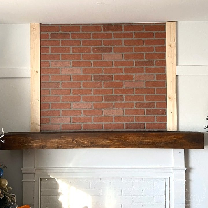 Using faux brick to create an overmantel