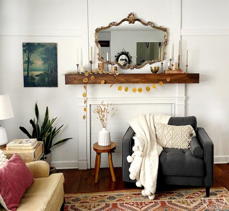 Boho Living room with after holiday winter decor