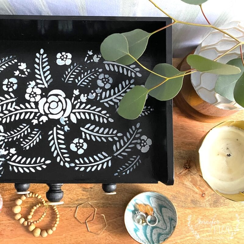 Painted DIY faux bone inlay painted Jewelry box with a stencil