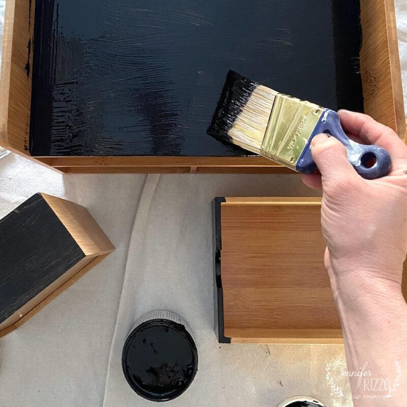 Painting drawers and wood organizer black