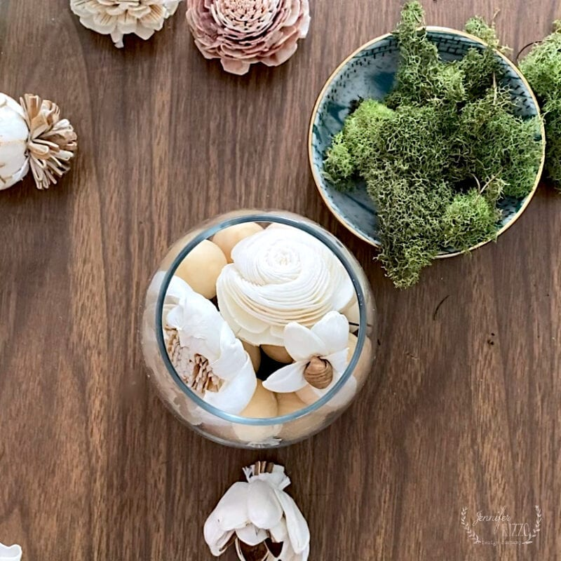 Moss and Sola Wood flowers to make a DIY wood bead diffuser