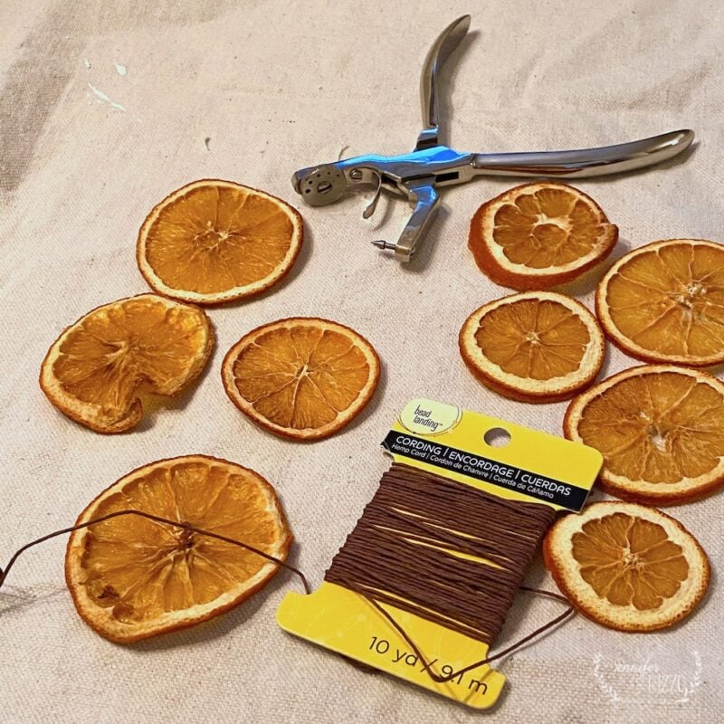 Supplies for creating a garland out of dried orange slices