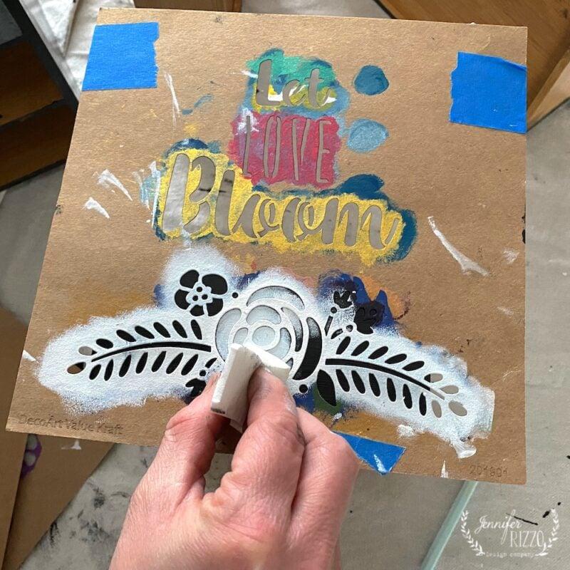 Using Kraft stencils to create a faux bone inlay pattern
