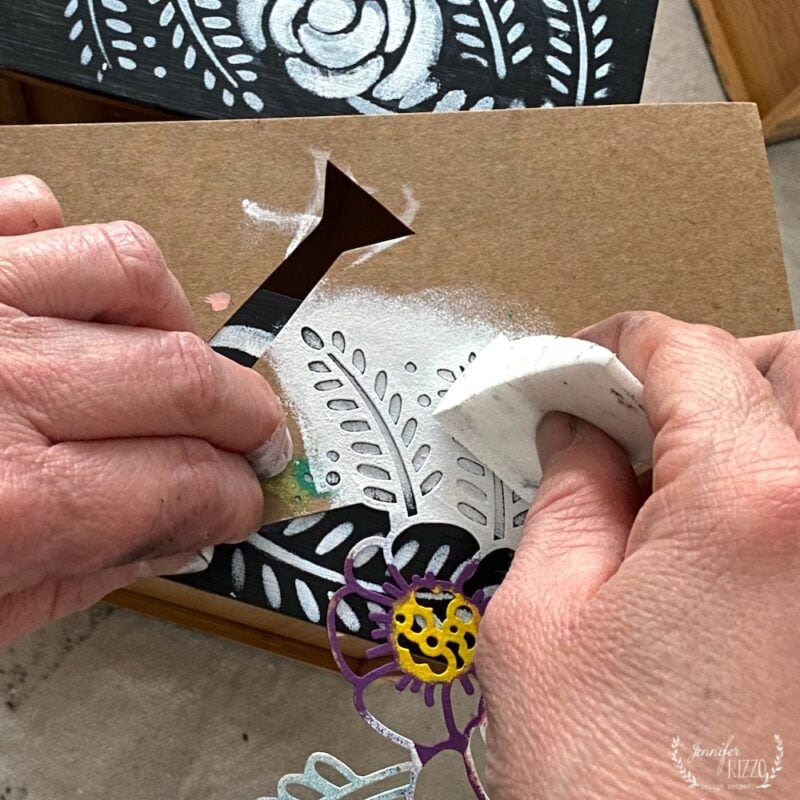 Using the leaf part of the stencil to create a faux bone inlay