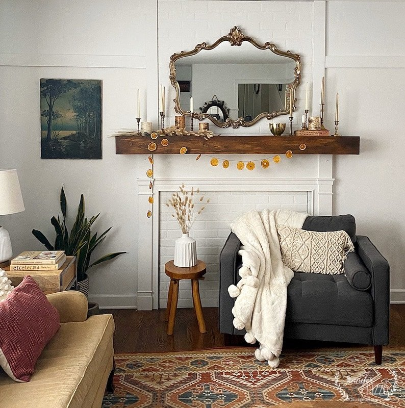 After Holiday Mantel and Living Room Decor