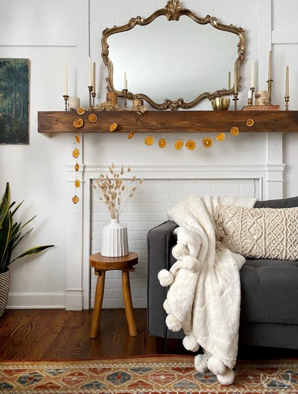 WInter living room with faux fur throw and brass and gold