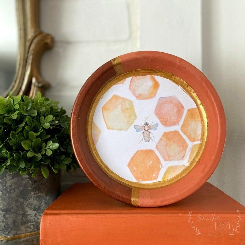 DIY Decorative Decoupage Bee Dish and Free Bee and Honeycomb Printable