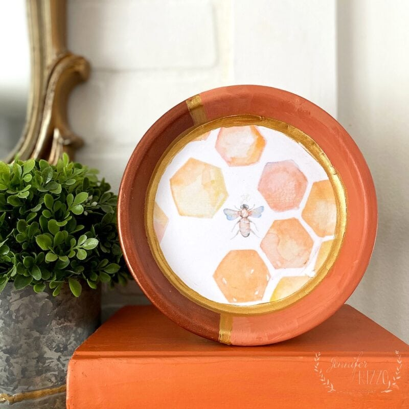 Make this decouapge decorative ring tray with a terreacotta dish and our free printable