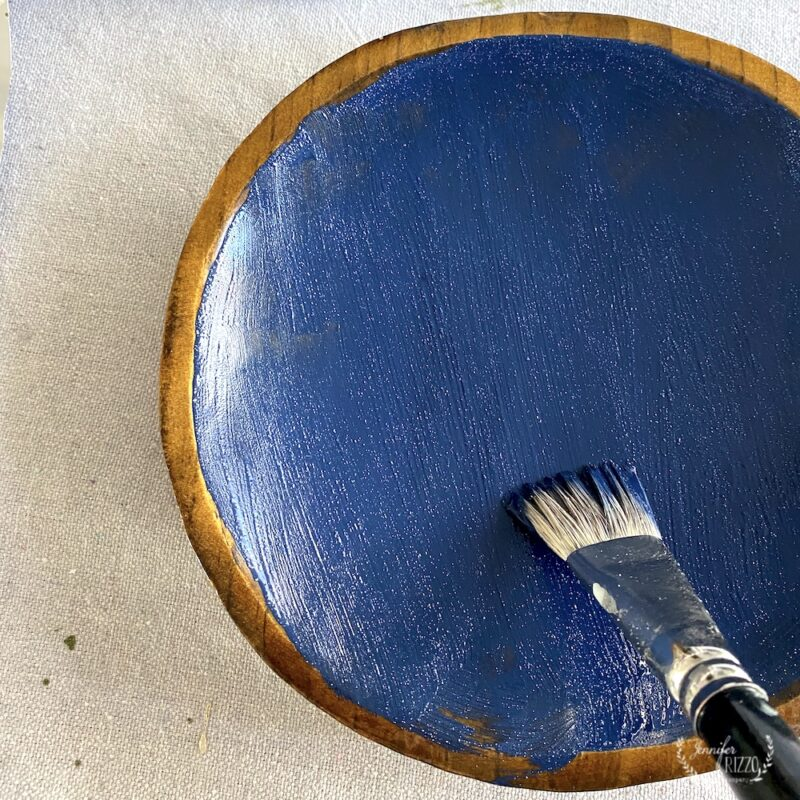 Painting Navy Blue Suede Paint on vintage wood bowl