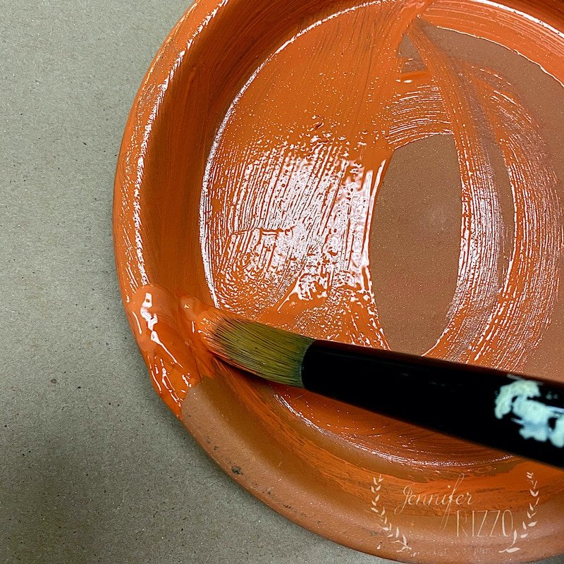 Paint a terracotta tray to make dish