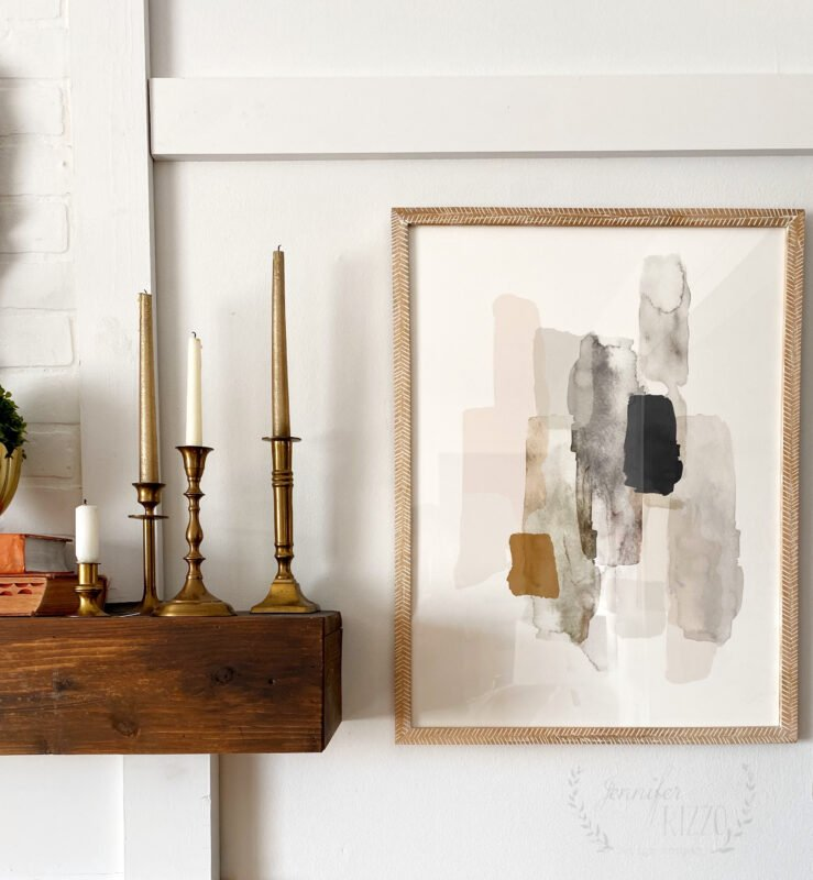 Abstract art from Minted used in Boho Modern Living Room Makeover