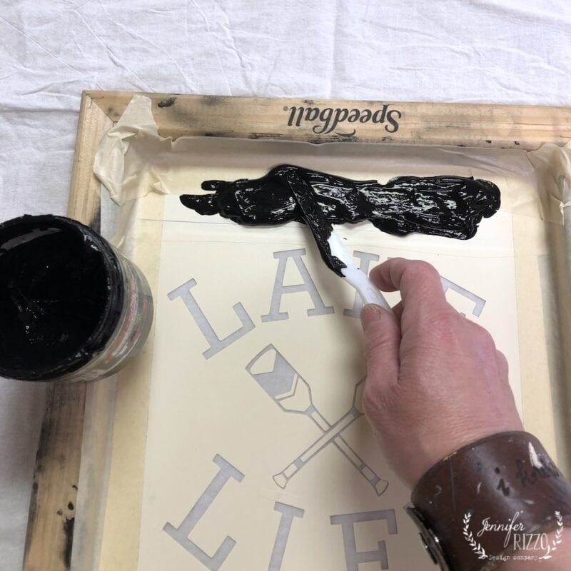 Add ink to the top of the screen for silk screening