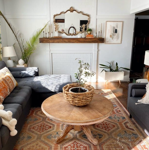 Boho natural Midcentury Modern Inspired Living Room
