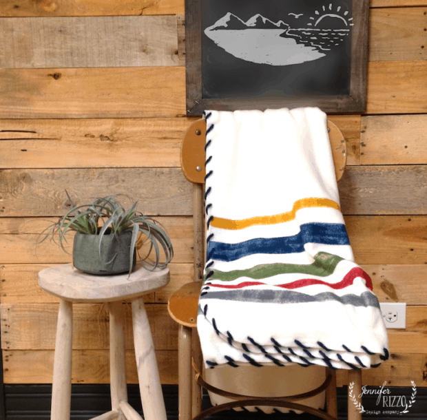 DIY painted fleece blanket